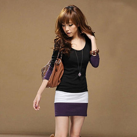 1PC Autumn Dress Womens Casual Long Sleeve Slim Stripe Party A-Line Mini Dress Clothing Sexy Black Purple Bodycon Dress - TheUrbanSky