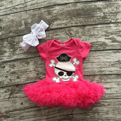 girls Halloween tutu romper infant toddler girls Halloween outfits girls hot pink with skull chiffon tutu romper with headband - TheUrbanSky