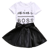 Toddler Kids Girl Clothes Set Summer Short Sleeve Mini Boss T-shirt Tops + Leather Skirt 2PCS Outfit Child Suit