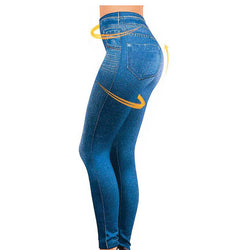 Leggings Jeans for Women Denim Pants with Pocket Slim Jeggings Fitness Plus Size Leggins S-XXL Black/Gray/Blue - TheUrbanSky