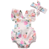 Infant Baby Girls Summer Flower Romper Sunsuit+Headband Cotton Outfits Set Clothes - TheUrbanSky