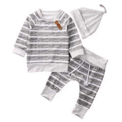 Long Sleeve Cotton Tops Striped T-Shirts Pants Hat 3pcs Clothing Outfits Set Kids Toddler Baby Girl Boy Clothes Set