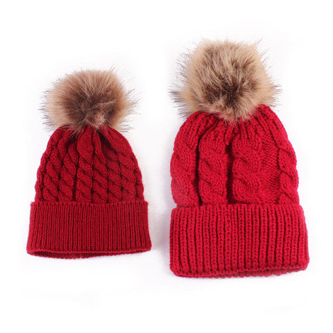 2 Pcs Mother Kids Child Baby Warm Winter Knit Beanie Fur Pom Hat Crochet Ski Cap Cute - TheUrbanSky