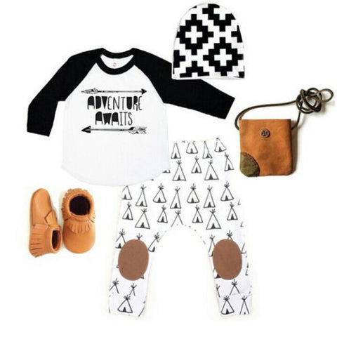 0-18M Newborn Baby Boys Girls Clothes Long Sleeve Cotton T-shirt Tops Pants Hat 3PCS Outfit Toddler Kids Clothing Set - TheUrbanSky