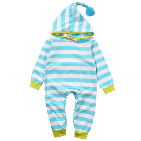 0-18M Newborn Baby Boy Girl Clothes Striped Hooded Romper Infant Bebes Cotton PP Pocket Playsuit One Pieces Tracksuit Outfit - TheUrbanSky