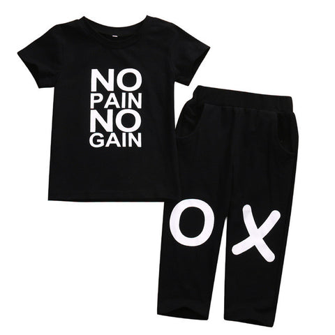 Toddler Kids Clothing Set No Pain No Gain Short Sleeve T-shirt Tops+Pant Trouser 2PCS Outfit Summer Suit Black - TheUrbanSky