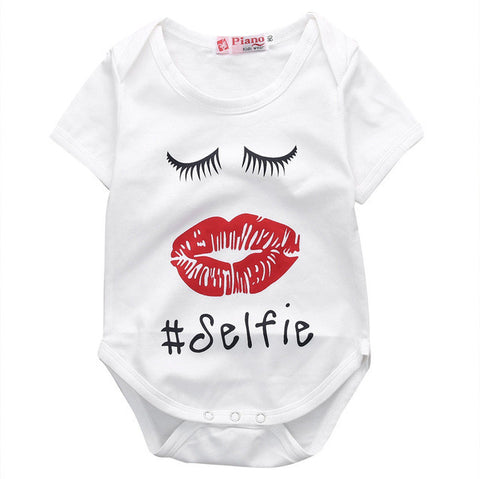 Jumpsuit Outfit Clothes Baby Girl Cotton Newborn Baby Boy Girl Red Lips Fashion Bodysuit Short Sleeve - TheUrbanSky