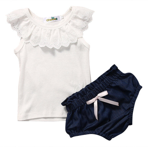 Cute Newborn Baby Girl Clothes Lace Vest Top+ Denim Short Bottoms 2PCS Outfit Bebek Giyim Kids Clothing Set 0-24M - TheUrbanSky