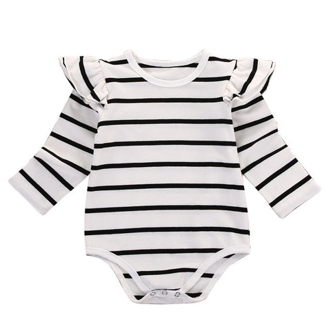 Newborn Infant Baby Boy Girl Clothes Long Sleeve Cotton Striped Bodysuit Jumpsuit Clothing 0-18M - TheUrbanSky