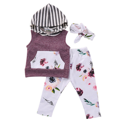3PCS Set Newborn Infant Baby Boy Girl Clothes Sleeveless Hooded Top +Floral Pant+Headband Outfit Toddler Kids Clothing Set 0-18M - TheUrbanSky