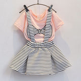 Summer Cute Toddler Girl Bow Print Clothes T-Shirt+Shorts Suspenders Skirt Suit Korean Baby Costumes Kids Set Children Clothing - TheUrbanSky