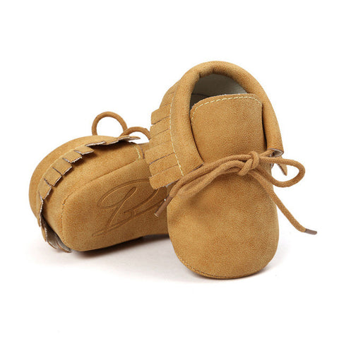 Lace-up Jeans Baby Moccasins Bebe Fringe Soft Soled Non-slip Footwear Crib Shoes PU Leather baby shoes - TheUrbanSky