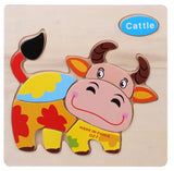 Wooden 3D Puzzle Jigsaw Wooden Toys For Children Cartoon Animal Puzzles Intelligence Kids Children Educational Toy - TheUrbanSky