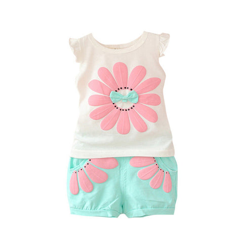 New Toddler Baby Girls Summer Clothing Sets Bow Sunflower Vest Shirt+Shorts Kids Outfits 1-4Y L07 - TheUrbanSky