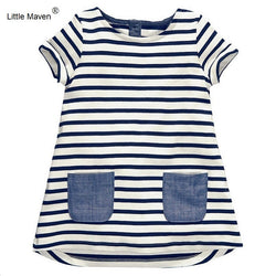 Little Maven 1-7 Years Girls Short Sleeve Blue Stripe Summer Dress Cotton Casual Dresses Kids Clothing - TheUrbanSky