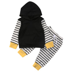Hot Baby Boy Hoodies Tops Kids Long Pants Outfits Toddler Striped Clothes Baby Girl Patchwork Clothing Set - TheUrbanSky