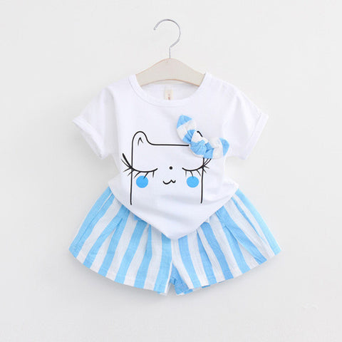 Girls Clothing Sets Kids Clothes Striped Children Clothing Toddler Girl Tops+Shorts Suits - TheUrbanSky