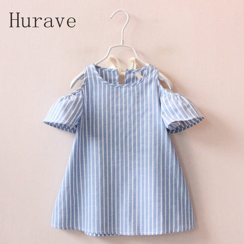 Hurave Casual Baby Girl Clothes Summer Dress Girls Cotton Striped Dresses Children Clothes Girl Vestidos Robe Fille - TheUrbanSky