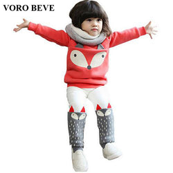 VORO BEVE Autumn winter Baby Girls Clothing set Lovely Children's Clothing 2PCS Thick Long Sleeve Fox Tops + Pant Sets - TheUrbanSky