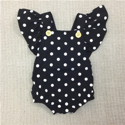 Baby Girls Dot Romper Newborn Infant Clothing Girls Summer Spring Cotton Ruffle Sleeve Romper  Toddler Jumpsuit 0-2Years - TheUrbanSky