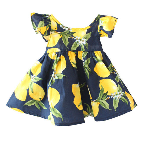 Cotton Lemon Dresses For Girl Baby Children Princess Sundress Infant Clothes Floral Sleeve Kid Clothing - TheUrbanSky