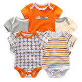 5PCS/LOT Unisex Top Quality Baby Rompers Short Sleeve Cottom O-Neck 0-12M Novel Newborn Boys&Girls Roupas de bebe Baby Clothes - TheUrbanSky