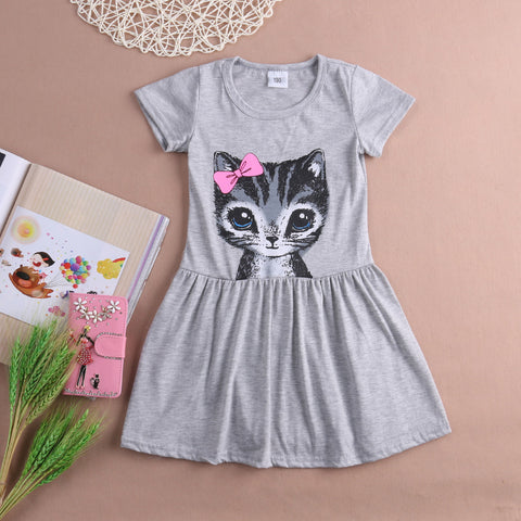 Pink/Grey Baby Kids Girls Cute Cat Kitten Summer Short Sleeve Toddler  Princess Dress Party  Tulle Tutu Dress 1-8Y - TheUrbanSky