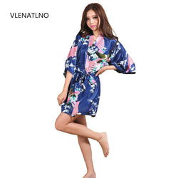Silk Satin Robe Floral Bathrobe Short Kimono Robe Night Robe Bath Robe - TheUrbanSky