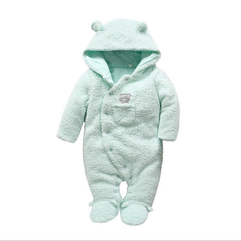 Tender Babies Newborn baby clothes bear onesie baby girl boy rompers hooded plush jumpsuit winter overalls - TheUrbanSky