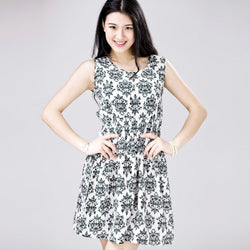 Women Summer Chiffon Sleeveless Dress Slim Floral Print Short Beach Mini Dresses - TheUrbanSky