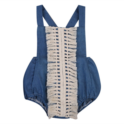 Denim Romper Newborn Baby Girls Cute Sleeveless Backless Halter Tassel Jumpsuit One Pieces Sunsuit Clothes - TheUrbanSky