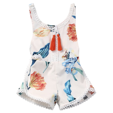 Cotton Newborn Baby Girl Sleeveless Lace Romper Summer Floral printing Backless Jumpsuit Clothes Sunsuit Outfits - TheUrbanSky