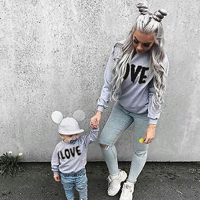 Autumn Mother and Daughter Family Match Clothes Long Sleeve Print Sweatshirt Woman Kids Tops Clothes - TheUrbanSky