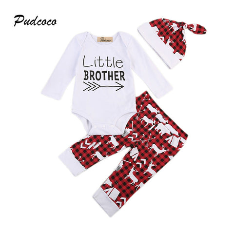 Little Brother Clothes Long Sleeve Romper Tops+Red Plaid Reindeer Pant Hat 3PCS Toddler Kids Clothing Set 0-24M - TheUrbanSky