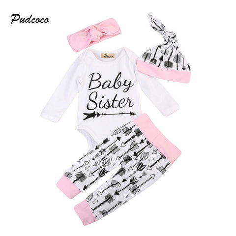 4PCS Set Baby Sister Newborn Clothes Long Sleeve Baby Romper Tops Long Pant Hat Headband Outfit Kids Clothing Set for 0-24M - TheUrbanSky