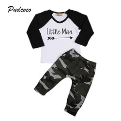 2PCS Set Little Man Newborn Baby Boy Clothes Long Sleeve V-neck T-shirt Tops+ Camouflage Pant Outfit Children Clothing