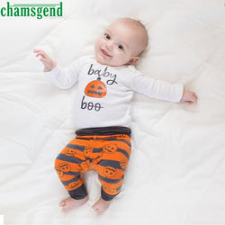 White Newborn Infant Baby Girl Boy Print O-Neck Full Pumpkin Romper Top+Pants+Hat Halloween Outfits 3 Set