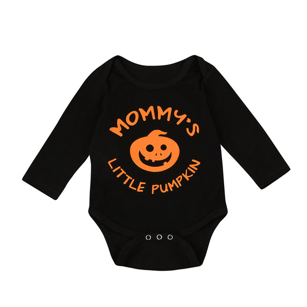 Orange Pumpkin Print Black Long Sleeve Romper - TheUrbanSky