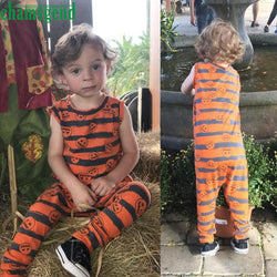 Orange Toddler Infant Baby Boy Girl Print O-Neck Sleeveless Pumpkin Romper Jumpsuit Halloween Outfit