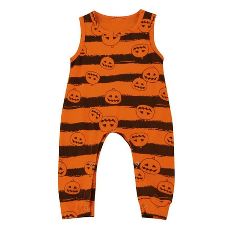 Orange Toddler Infant Baby Boy Girl Print O-Neck Sleeveless Pumpkin Romper Jumpsuit Halloween Outfit - TheUrbanSky