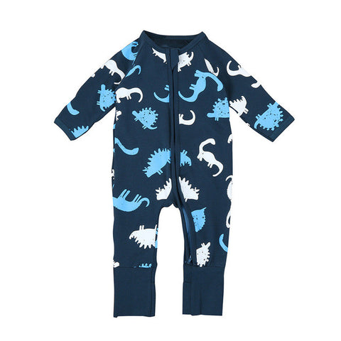 Toddler Girl Clothing Dinosaur Print Zipper Rompers Jumpsuit Outfits Baby Clothes