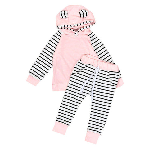 2Pcs/Set Adorable Autumn Newborn Baby Girls boys clothes set Hooded Infant Warm Jacket + Striped Pants 2PCS baby Clothes suit