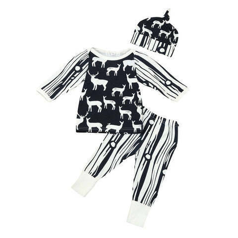 3PCS Set Newborn Baby Clothes 0-24M Infant s Deer Long