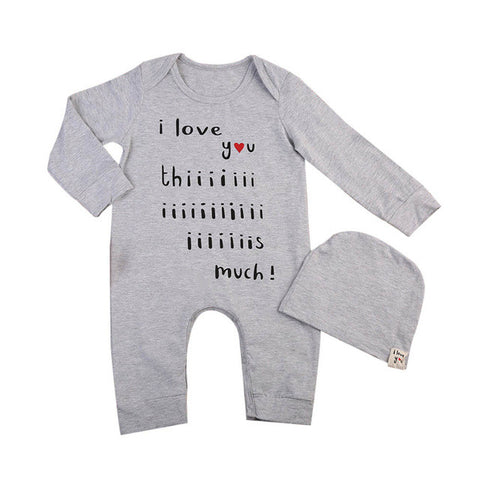 "2pcs Outfits Clothes Set winter rompers ""i love you"" cute"