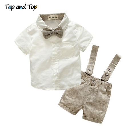 2pcs short sleeve t-shirt + suspenders gentleman suit