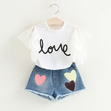 White Jacket Flower Decoration+Denim Shorts Children Clothes