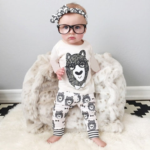 Cotton little monsters long sleeve 2pcs baby boy clothes