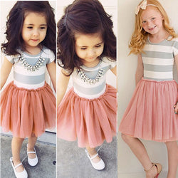 New Fashion Patchwork Kids Girls Princess Flower Tutu Dress Party Cute Formal Striped Ball Dresses Clothing For 2 4 6 8 10 Years - TheUrbanSky