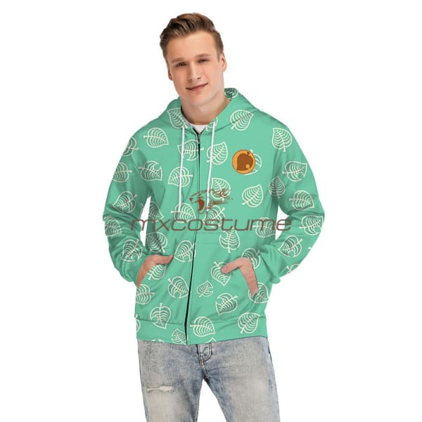 Animal Crossing Game 3D Printing Green Hoodie Coat Cosplay Costume Hoodies