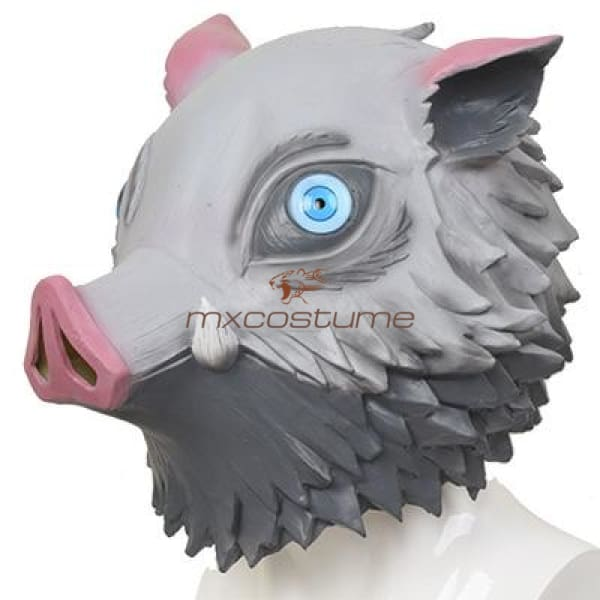Kimetsu No Yaiba Demon Slayer Hashibira Inosuke Cosplay Latex Mask V2